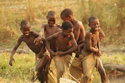 Kids at the Okavango