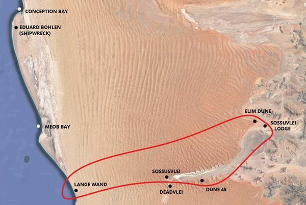 Sossusvlei - Lange Wand Scenic Flight Map