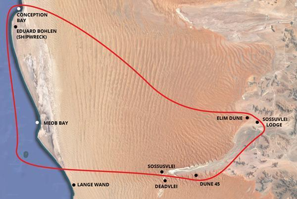 Sossusvlei - Skeleton Coast Scenic Flight Map