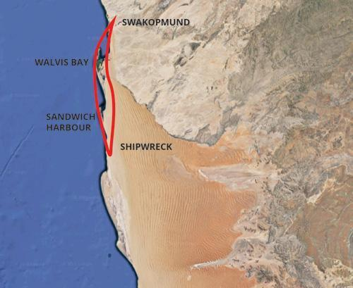 Namib Scenic Flight Map
