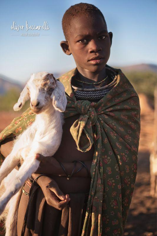 The Himba are semi-nomadic people who live with their cattles and goats in the Kaokoland, in the northwestern part of Namibia