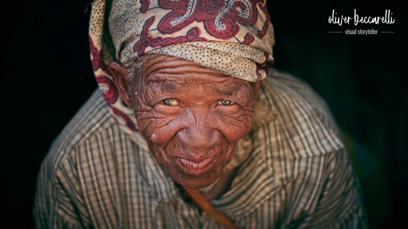Old Mama of a San family from the east of Namibia