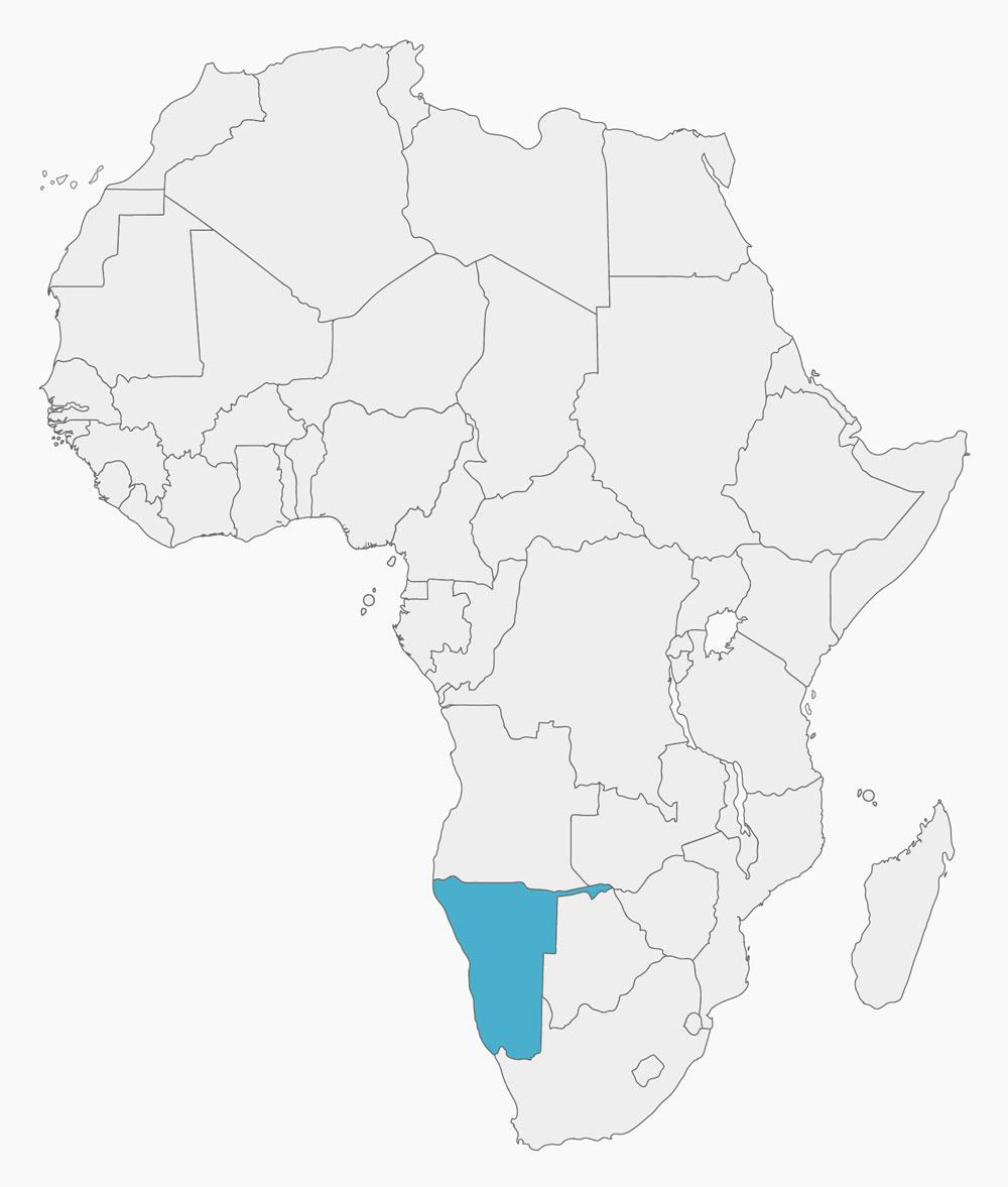 Namibia On Africa Map.Namibias Geography Borders And Location In Africa